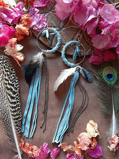 Pale Blue Crescent formed Leather Earring