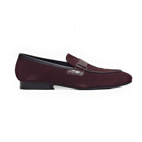Ferozi Leather Buckled Loafers Maroon Suede