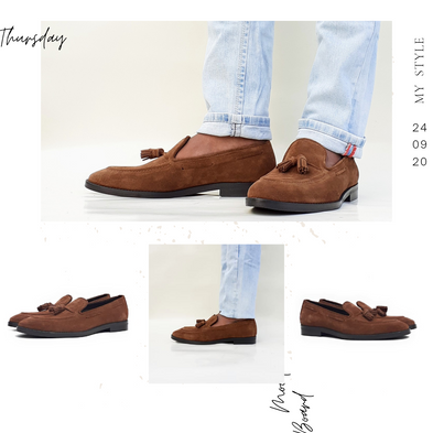 Tassle Loafers in italian suede leather