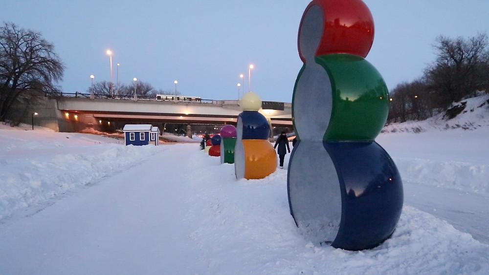 Frozen River Winnipeg,canada, assiniboine river, red river,manitoba, walk on the frozen river, skate trails winnipeg, artwork