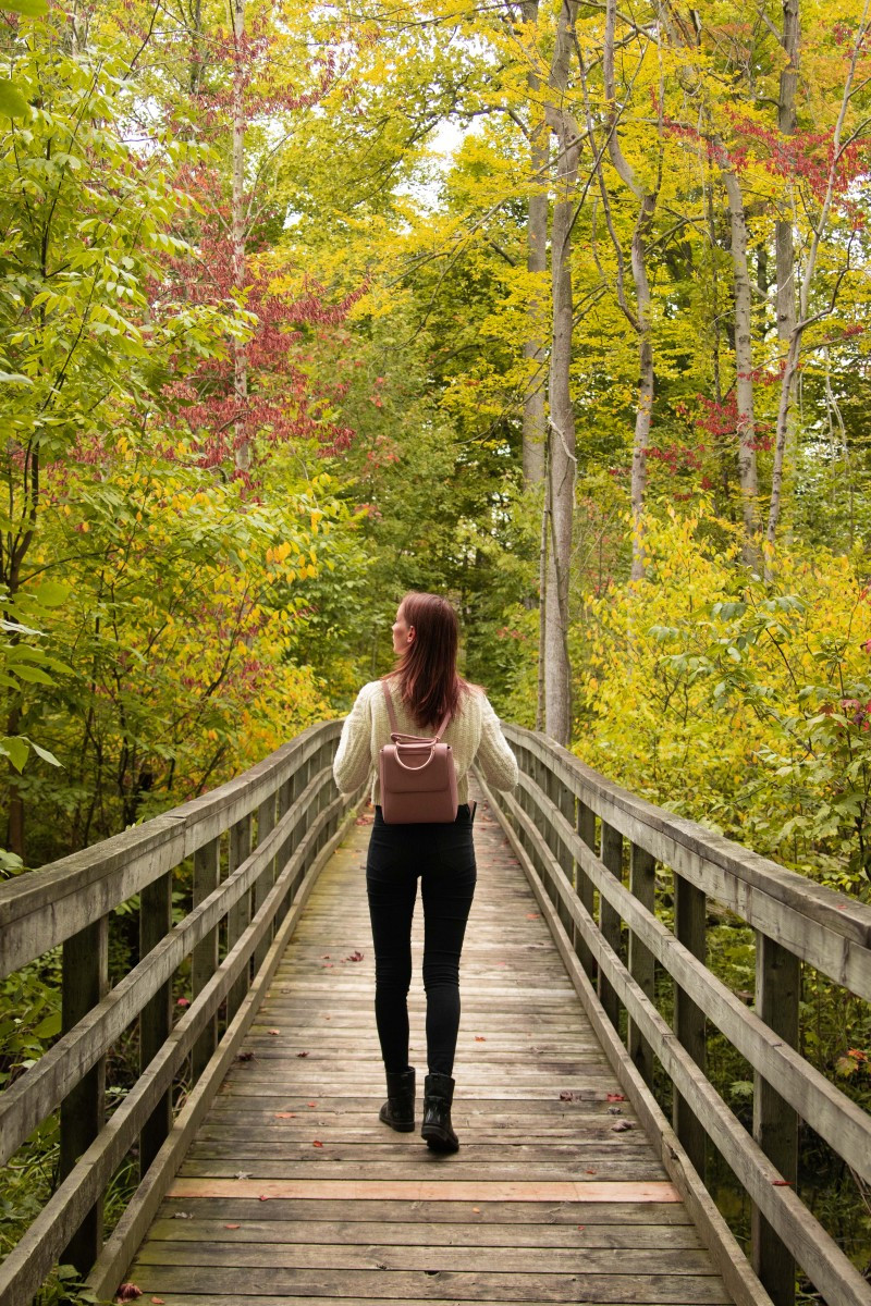Girl on Bridge looking at fall colours