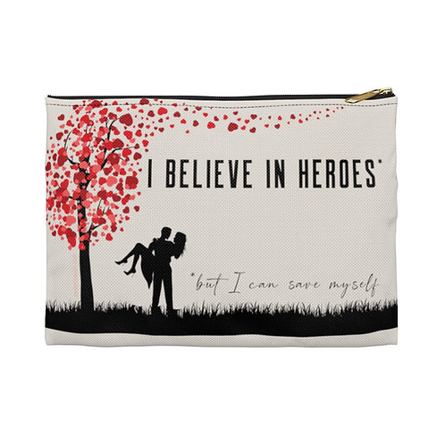 """Believe in Heroes but Save Myself"" Heart Tree Accessory Pouch (2 sizes)"