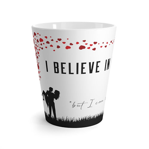 """Believe In Heroes But Save Myself"" Latte Mug (heart tree)"