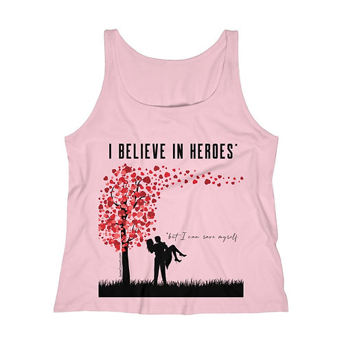 """Believe in Heroes But Save Myself"" tank top (Heart Tree)"