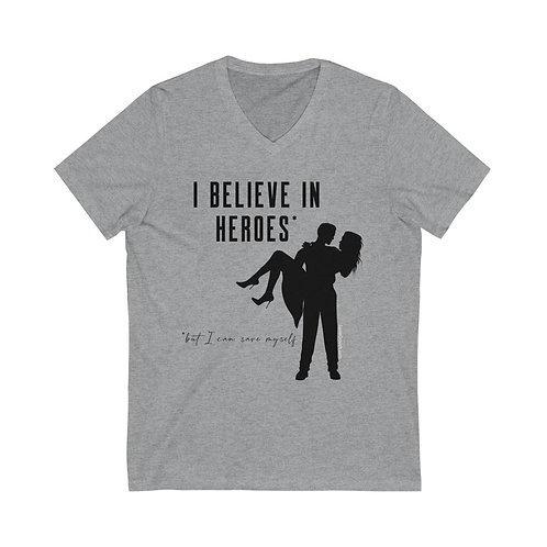 """Believe in Heroes But Save Myself"" T-shirt (gray)"