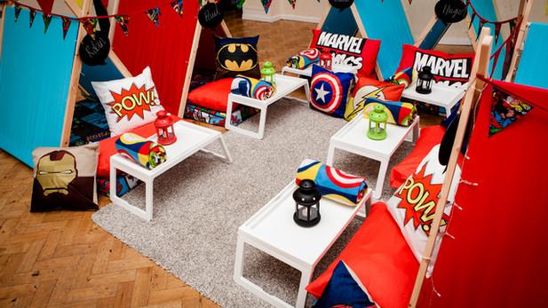 Superheroes Theme Sleepover 6 Tent Set up