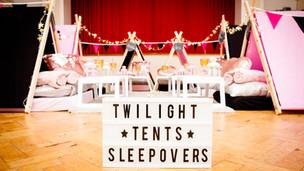Glam Theme Sleepover 6 Tent Set up