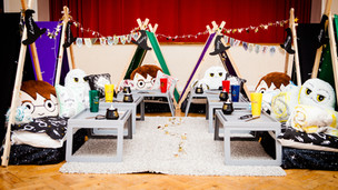 Witches and Wizards Theme Sleepover 6 Tent Set up