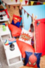 Twilight-Tents-Superheroes-cushion-detai