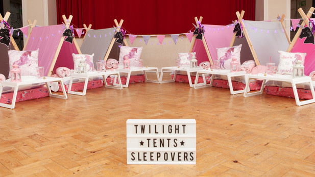 Unicorn Theme Sleepover 6 Tent Setup