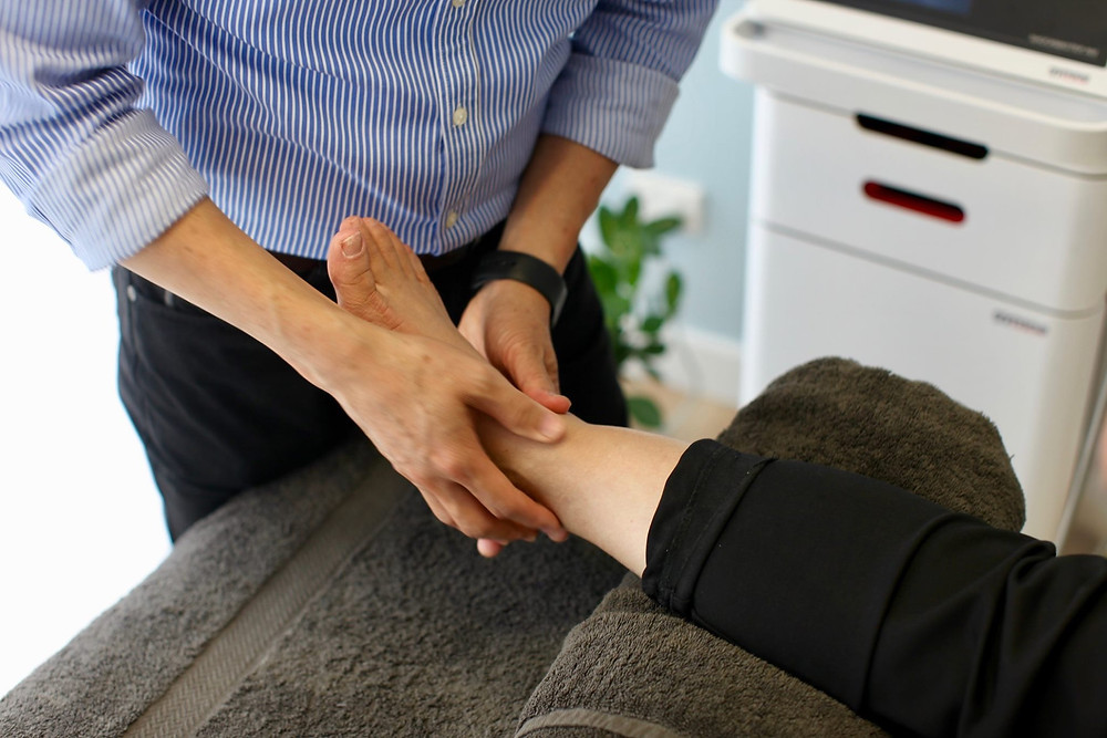 Ankle treatment with our physio