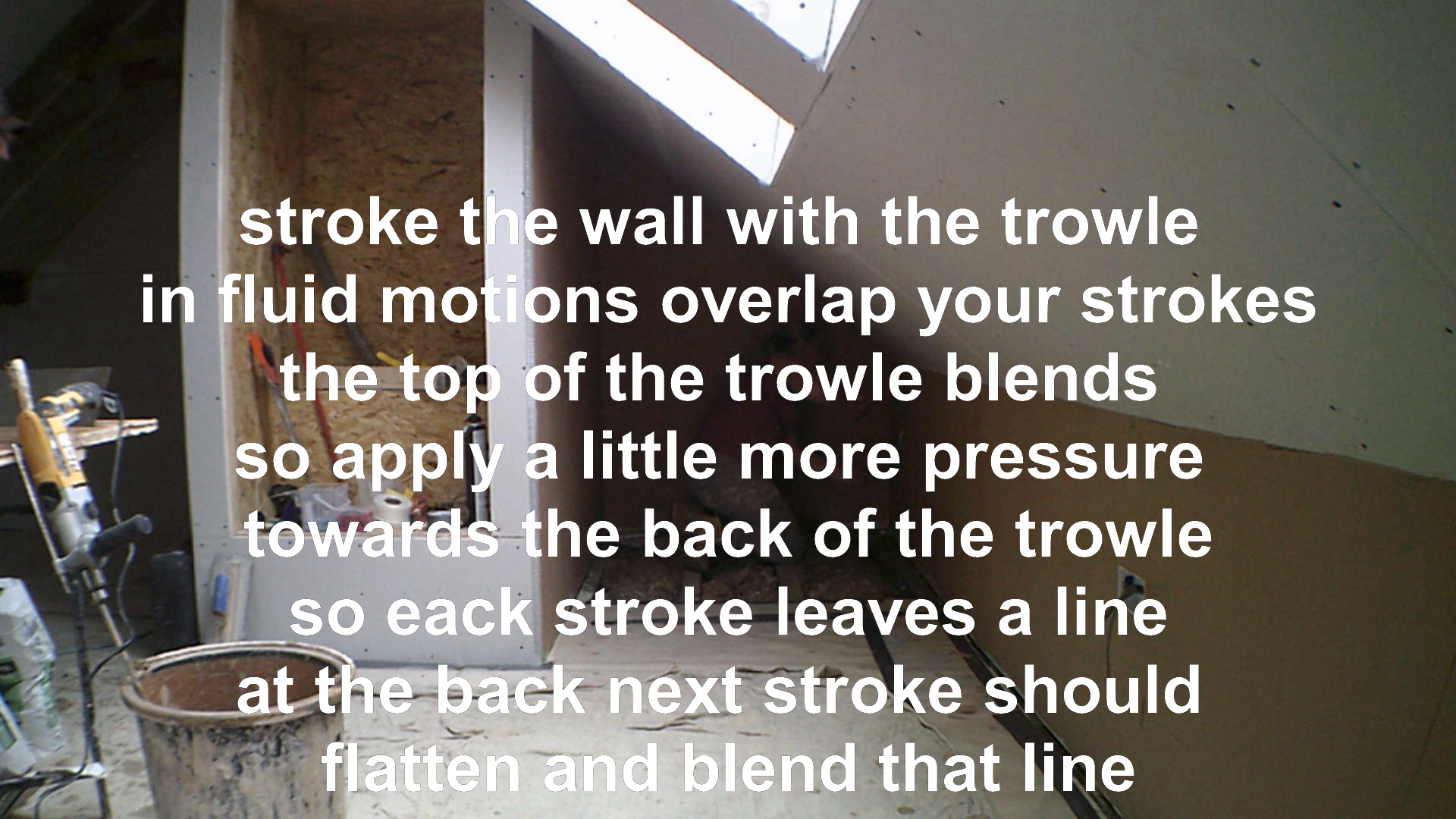 pressing down plaster