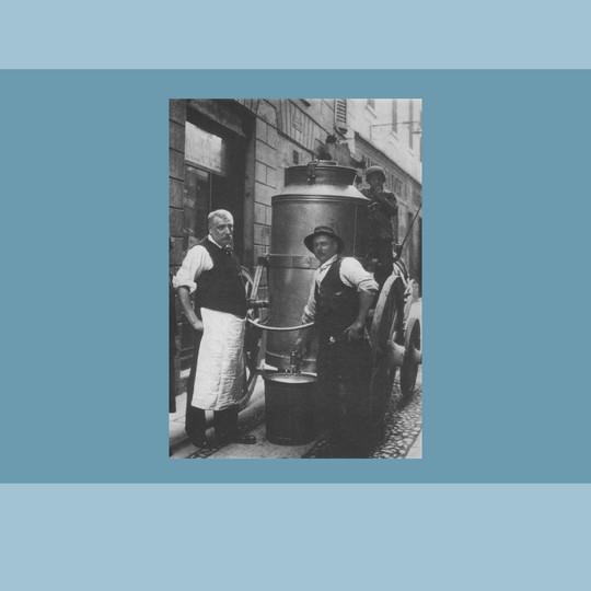 1900 - Il tradizionale carretto del menalatte (Civica Raccolta Bertarelli, Milano)