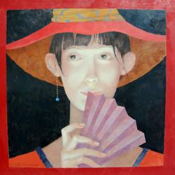 2019-07-03 Girl with Fan 16x16 inch