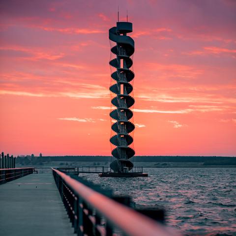 Sonnenaufgang am Pegelturm