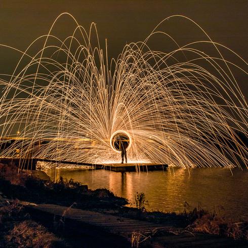Lightpainting on the sea