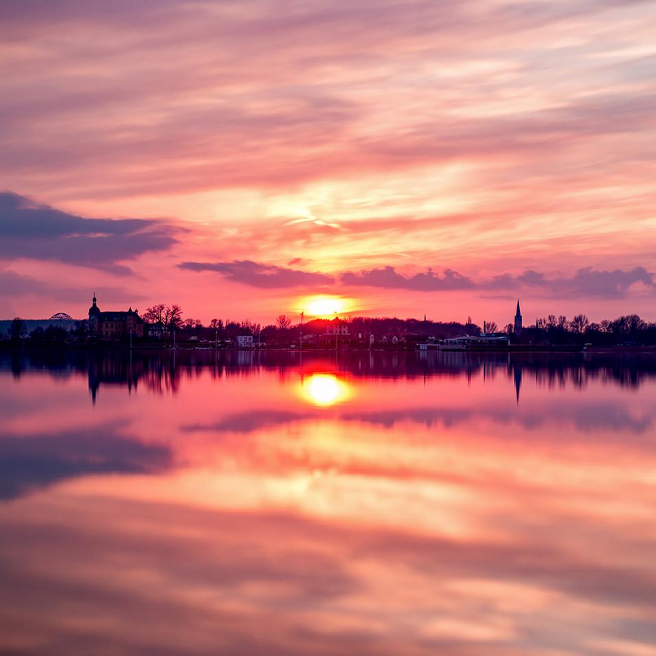 Bittelfelder Meer bei Sonnenuntergang