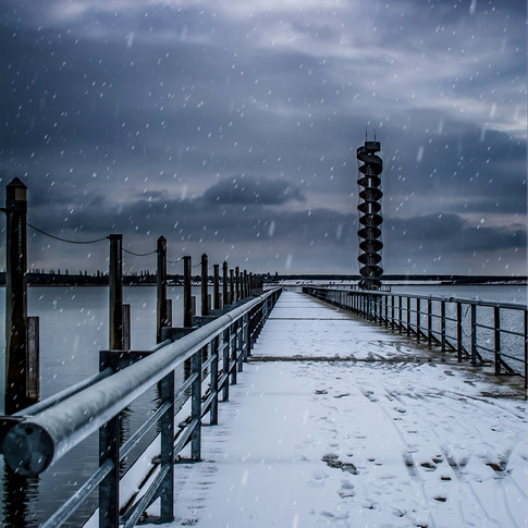 Pegelturm im Schnee