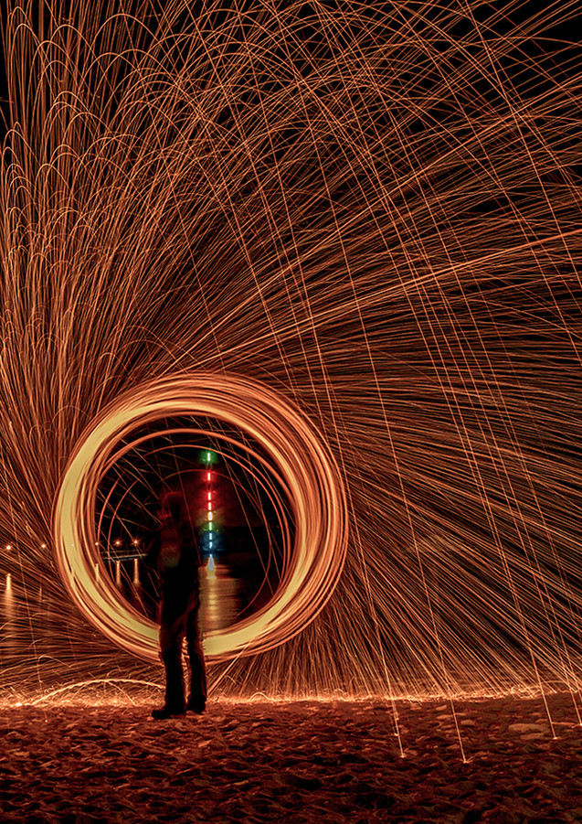 Steelwool Kreis am Pegelturm Muldestausee