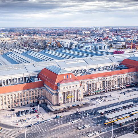 Leipziger Hauptbahnhof von oben