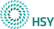 This image is the logo for tHelsinki Region Environmental Services HSY, which is a on the left hand side a series of light blue, green and dark green droplets in three concentric circles. On the right sight are the letters HSY in green.