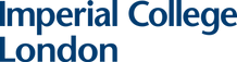 This image is a logo for Imperial College London, which is the name in blue text, aligned left. Imperial College is on the first line and London on the second line.