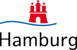 This is an image of the logo for the city of Hamburg, which is a red caste-like building sitting on top of a wavy blue line with the text 'Hamburg' underneath.