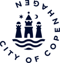 This image is the logo of the City of Copenhagen, which includes an outline of three small buildings, with the City of Copenhagen text wrapped around in a three quarters circle.