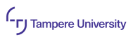 This is an image of the Tampere University logo. On the left side is a T with curved lines on either side of the T, and Tampere University in blue text.