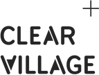 This is an image of the Clear Village logo, which is CLEAR VILLAGE in capital letters in black, with the letters A and V filled in, with a plus sign on the top right of the logo.