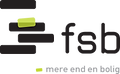 This is the logo for fsb, which on the left hand side contains 4 horizontal bars and one lime green box on the second bar. On the right side is fsb in black text.