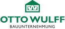 This image is the logo for Otto Wulff, which is a small graphic of a green house on top of the name OTTO WULFF in green text, and on the bottom is BAUUNTERNEHMUNG in black text.