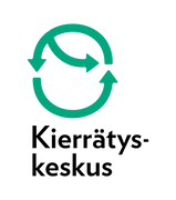 This image is the logo for Kierratyskeskus, which is an oval of three green arrows pointing towards each other.