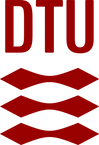 This image is the logo for Technical University of Denmark, which is DTU in red on top of three lines that look like two diamonds merged together at the ends.
