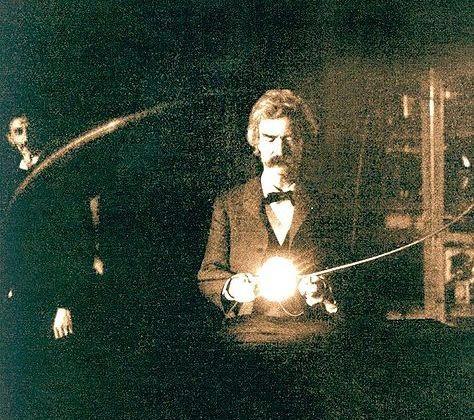 Mark Twain en el laboratorio de Tesla