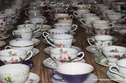mismatched coffee  teacups and saucers The Tea Party Company