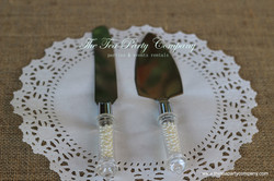 Faux Pearl Handle Cake Knife _ Server Set The Tea Party Company