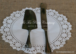Shiny Metal Cake Knife _ Server Set The Tea party Company