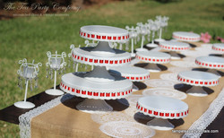 White Ribbon Cake Stands