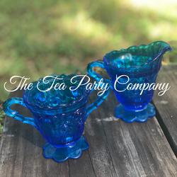 Blue Glass Creamer and Sugar Bowl The Te
