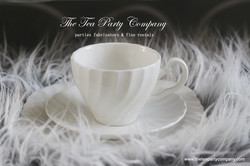 matching white teacup and saucer