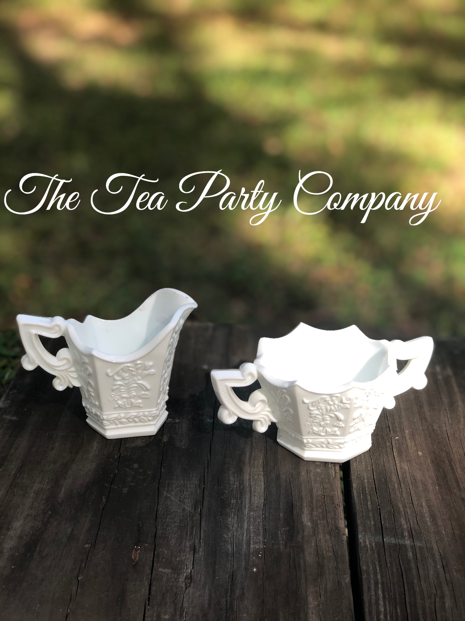 Milk Glass Creamer and Sugar Bowl The Te