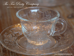 Clear Glass Tea Cup & Saucer Collection  The Tea Party Company (2)