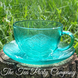 Aquamarine Tea Cup Colored Glass Collection The Tea Party Company
