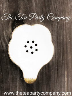 Tea Drainer Porcelain White & Gold Tea A