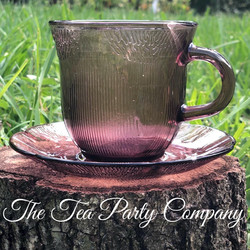 Amethyst  Purple Tea Cup Colored Glass Collection The Tea Party Company