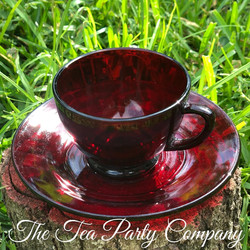 Red Ruby Tea Cup Colored Glass Collection The Tea Party Company