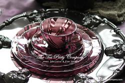 Purple Glass Glass Trio Teacup Saucer an