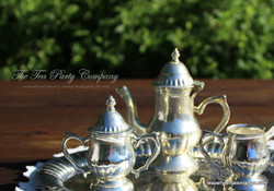 Silver plated teapot cream and sugar with tray