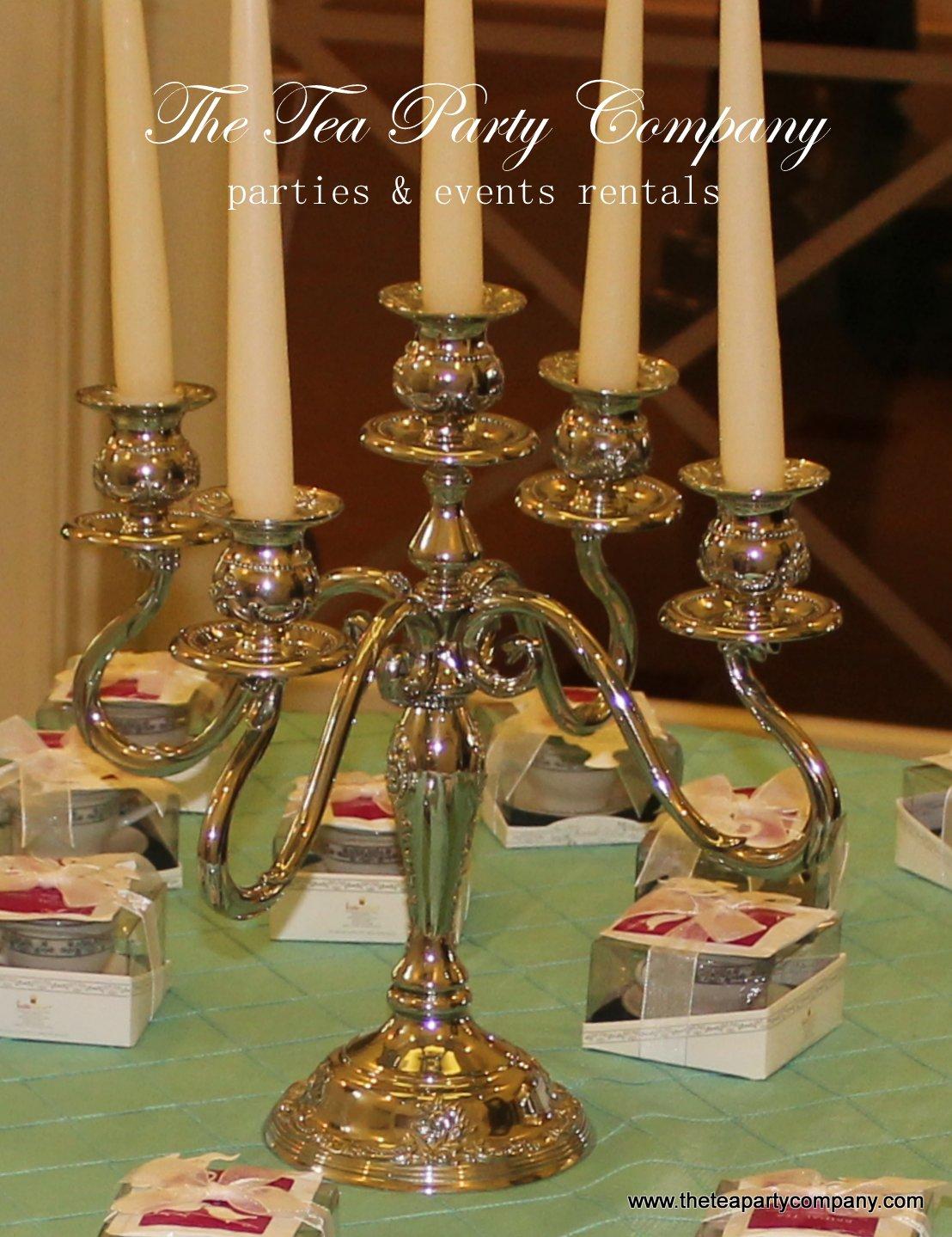 5 arm silver plate candelabra